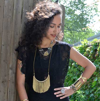 Fringe Long Necklace model