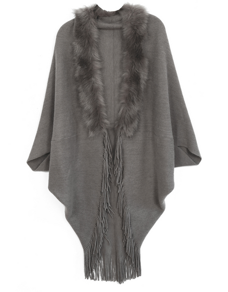 Fur Knit Fringe Ruana gray