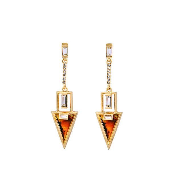 Geo Linear Earrings in Tortoise