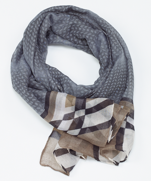 Geo Oblong Scarf gray