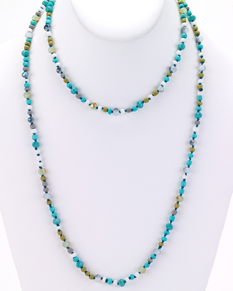 Glass Beaded Long Necklace turquoise