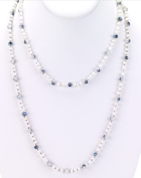 Glass Beaded Long Necklace white