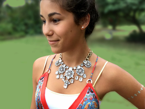 clear glam statement necklace bib on model