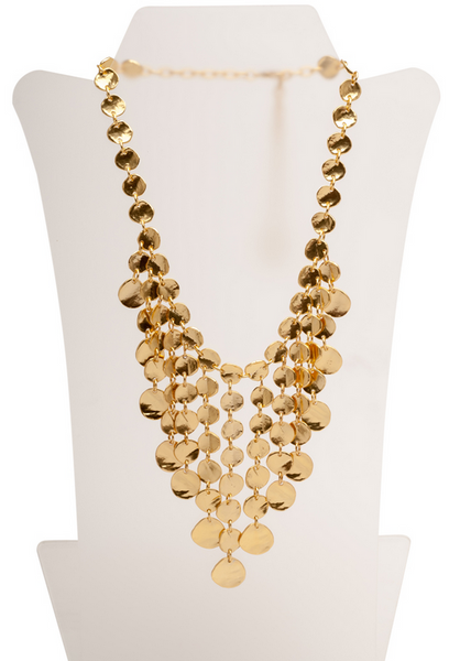 Medallion Discs Bib Necklace