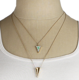 Gold and Enamel Triangle Necklace model