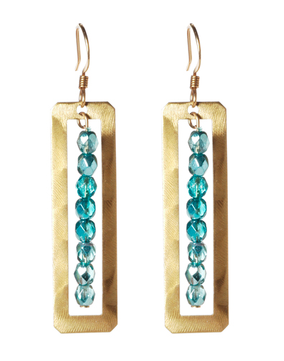 Gold Open Rectangle Earrings with Beaded Drop
