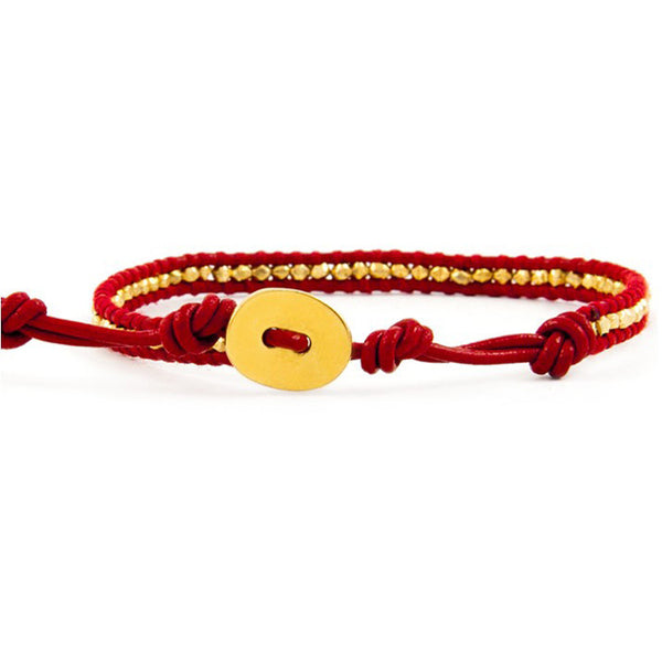 Gold Stripe Red Leather Bracelet