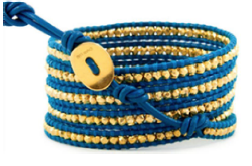 Gold and Blue Wrap Bracelet