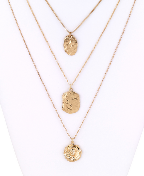 Gold Coin Pendants Layered Necklace