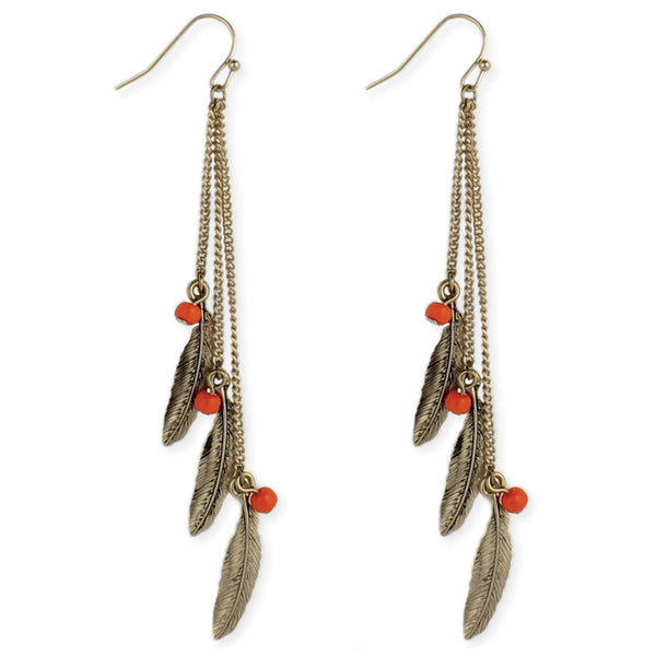 gold Feather and Bead Linear Earring