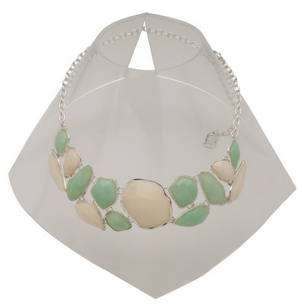 Green and Cream Statement Necklace in Silver