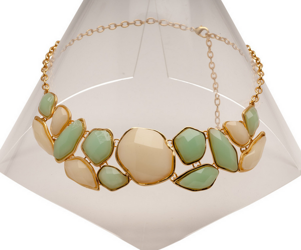 Green and Cream Statement Necklace