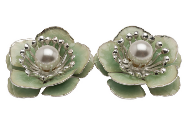 Green Enamel Flower Studs Earrings