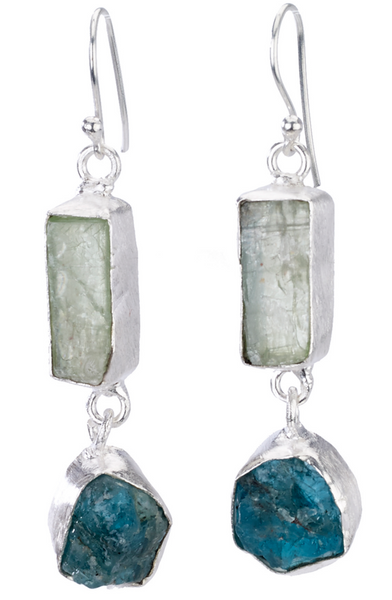 Green Kyanite Stone Drop Earrings