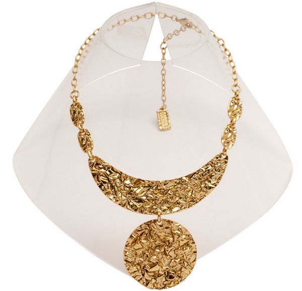 Half Moon Crinkled Statement Necklace