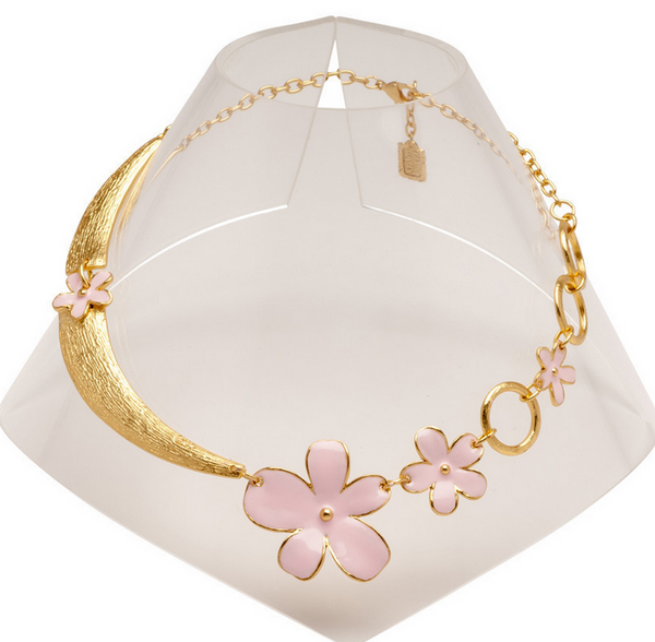 Half-Moon and Flowers Collar Necklace