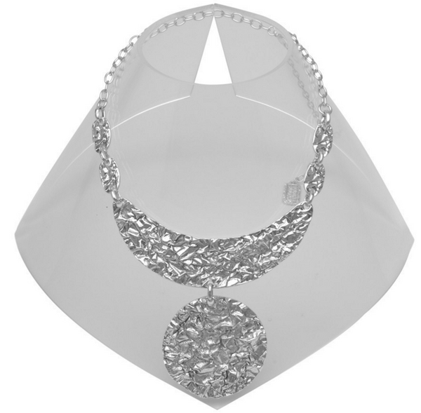 Half Moon Crinkled Statement Necklace in Silver