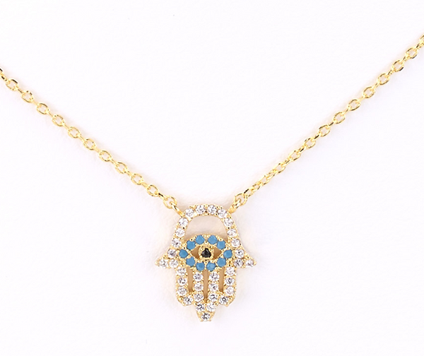 Hamsa Evil Eye Charm Necklace gold