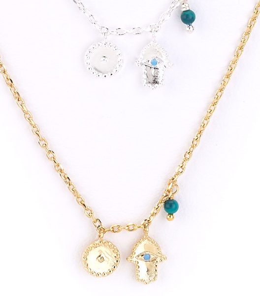 Hamsa and Moon Charm Necklace zoom