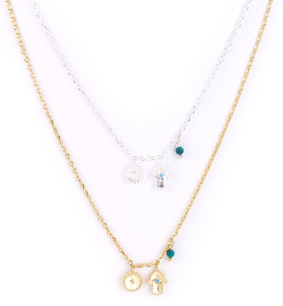 Hamsa and Moon Charm Necklace