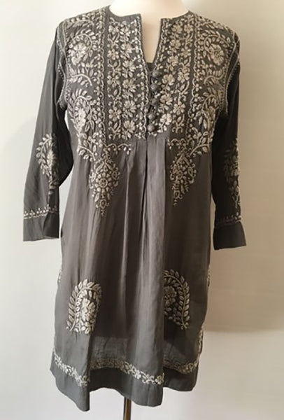 Hand Embroidered Tunic Top in Silver Gray