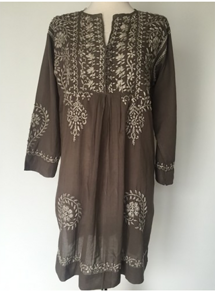 Hand Embroidered Tunic Tan