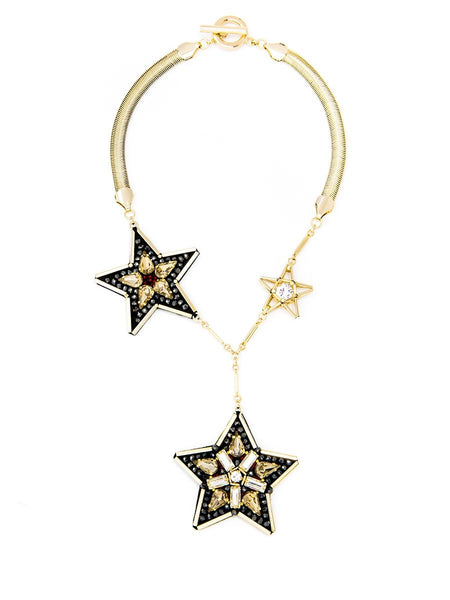 Handmade Leather Star Necklace black