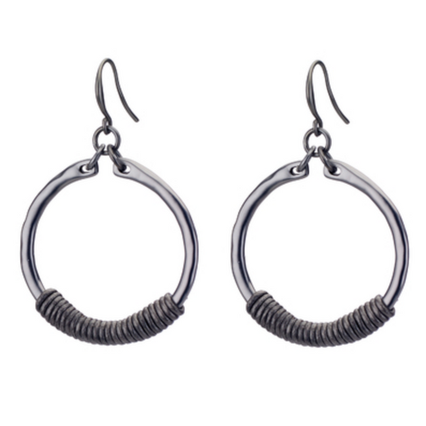 Hoop Earrings with Leather black hematite