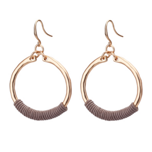 Hoop Earrings with Leather gold