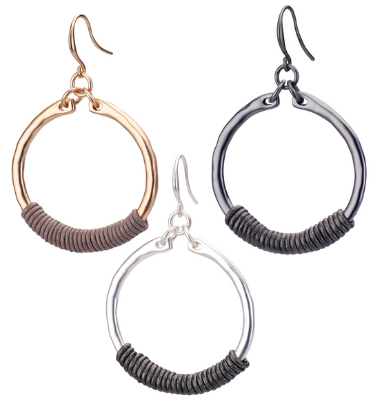Hoop Earrings with Leather