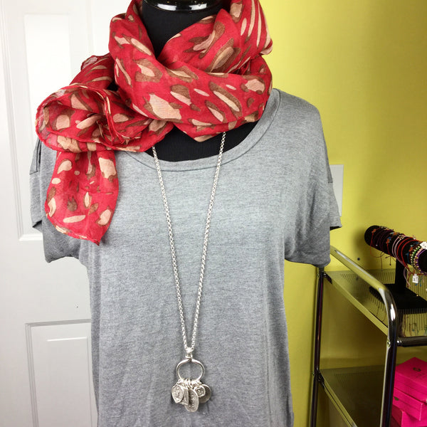 Leopard Print Scarf red