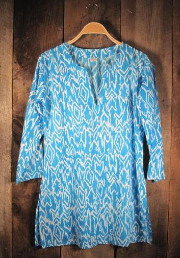 Ikat Print Tunic - Light Blue