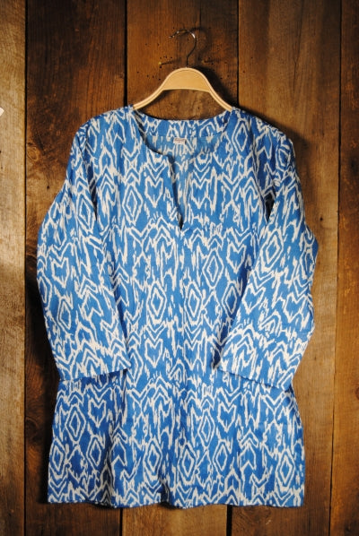 Ikat Cotton Tunic Top Blue