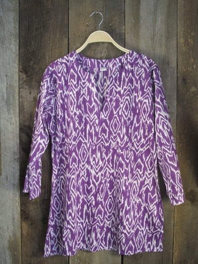 Ikat Cotton Tunic Top in Purple