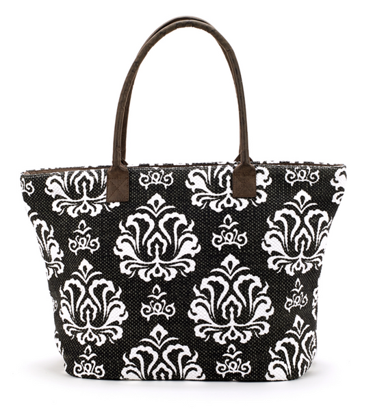 Indian Dhurrie Tote Bag Black and White