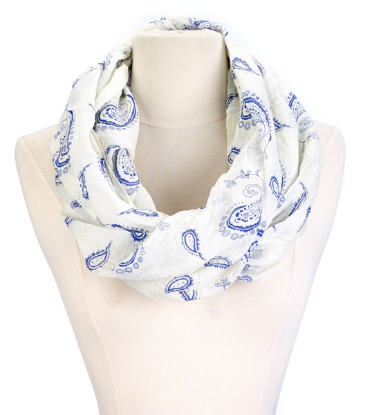 Infinity Paisley Scarf blue