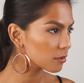 Jena Crystal Earrings - Rose Gold model