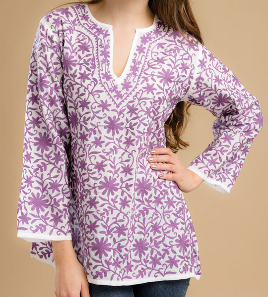 Kairavi Embroidered Tunic Top purple