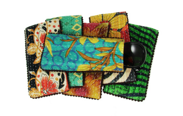 Kantha Eyeglass Case w. Picot Trim