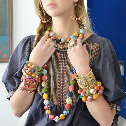 Kantha Beaded Garland Long Necklace