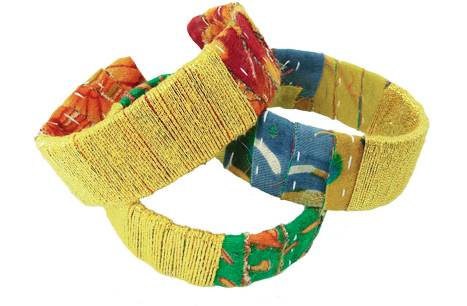 Kantha Metallic Thread Wrapped Cuff assorted