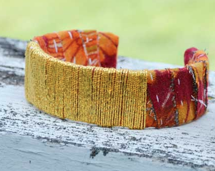 Kantha Metallic Thread Wrapped Cuff