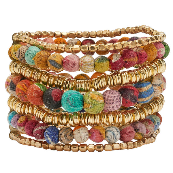 Kantha Layered Stretch Bracelet