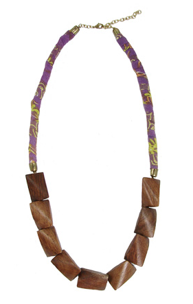 Kantha Wood Long Necklace