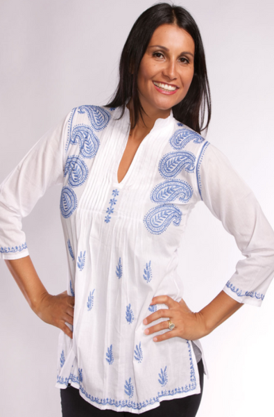 Karishma Embroidered Tunic Top blue