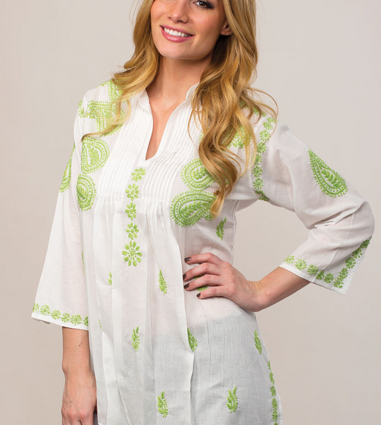 Karishma Embroidered Tunic Top lime