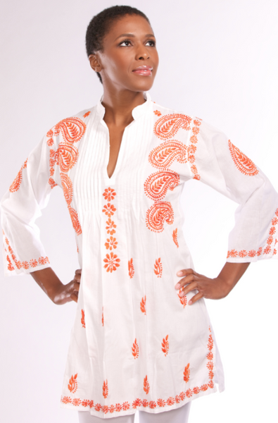 Karishma Embroidered Tunic Top orange