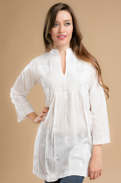 Karishma Embroidered Tunic Top white