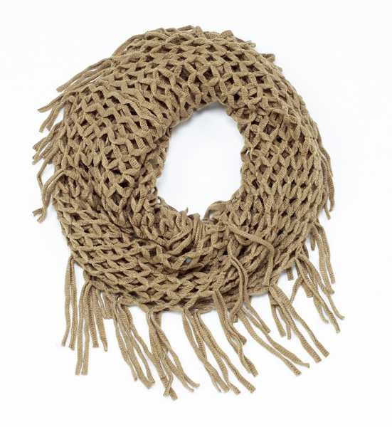 Knit Fringe Infinit Scarf green
