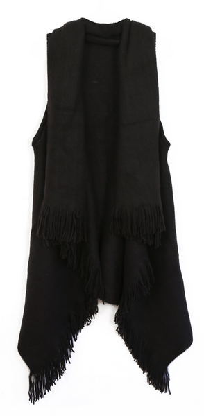 Knit Vest Ruana black